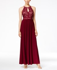 Nightway Keyhole Lace Halter Gown Wine