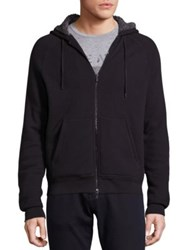 John Varvatos Fleece Lined Waffle Knit Hoodie Black