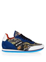 Etro Multi Panel Paisley Print Trainers Blue Multi