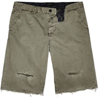 River Island Mens Khaki Distressed Slim Fit Shorts