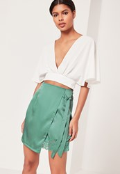 Missguided Satin Wrap Asymmetric Hem Lace Mini Skirt Green Beige