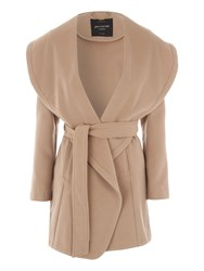 Jane Norman Camel Belted Wrap Coat