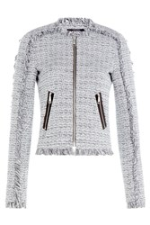 Karl Lagerfeld Cotton Blend Fringe Knit Blazer Multicolor