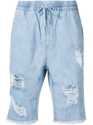 Stampd Distressed Shorts Blue