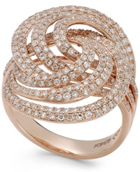 Effy Collection Pave Rose By Effy Diamond Spiral Ring In 14K Rose Gold 1 1 4 Ct. T.W.