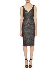 Nicole Miller Patterned Fitted Dress Black Silver
