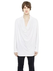 Balmain Draped Cotton Blend Long Sleeve T Shirt