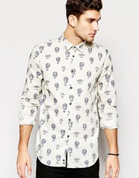 Sisley Shirt With All Over Hot Air Balloon Print White