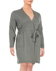 Lord And Taylor Plus Tie Front Lounge Wrap Heather Grey