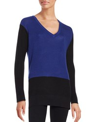 Vince Camuto Petite Waffle Knit Colorblocked Sweater Anchor Blue