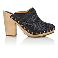 Ulla Johnson Women's Embroidered Leather Clogs Black Blue Black Blue