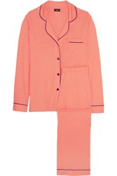 Cosabella Pima Cotton And Modal Blend Jersey Pajama Set Coral