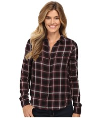 Calvin Klein Jeans Plaid Crinkle Double Cloth Long Sleeve Woven Black Women's Long Sleeve Button Up