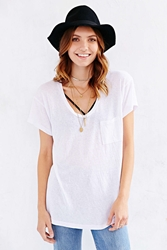 Truly Madly Deeply Scoopneck Slouch Pocket Tee White Triblend
