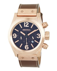 Brera Rose Gold Plated Leather Brown Dial Chronograph Watch