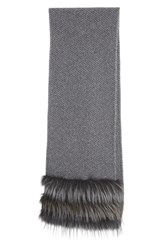 Women's Fabiana Filippi Cashmere Scarf With Genuine Fox Fur Trim