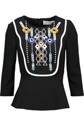Peter Pilotto Atari Embellished Embroidered Crepe Peplum Top Black