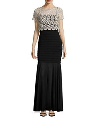 Betsy And Adam Banded Lace Popover Dress Gold Black