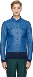 Burberry Blue Leather Worker Jacket