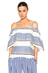 Tanya Taylor Ione Top In Stripes Blue