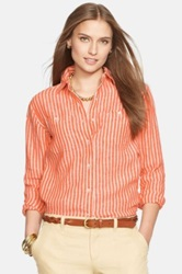 Lauren Ralph Lauren Stripe Linen Shirt Regular And Petite Orange