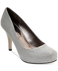 Madden Girl Madden Girl Getta Glitter Platform Pumps Women's Shoes Silver Metallic Sparkle Mesh