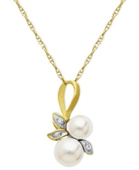 Macy's 10K Gold Necklace Cultured Freshwater Pearl And Diamond Accent Leaf Pendant
