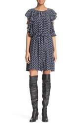 Apiece Apart Women's Ruffle Sleeve Print Silk Dress