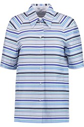 Agnona Striped Cotton Shirt Blue