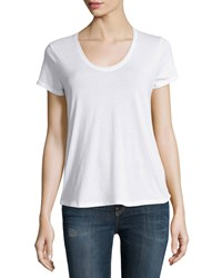Vince Rounded V Neck Jersey Tee Optic White