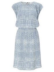 Collection Weekend By John Lewis Brooklyn Tile Print Dress Blue Ivory