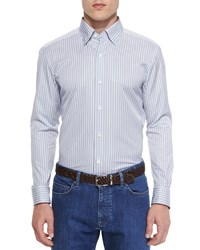 Ermenegildo Zegna Striped Woven Sport Shirt Gray