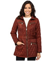 Vince Camuto Belted Quilted Jacket L8101 Rust Women's Coat Red