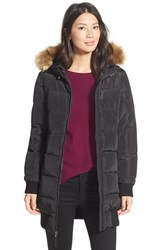 Women's Levi's Long Puffer With Faux Fur Trim Black