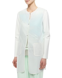 Elie Tahari Melody Mesh Faded Long Coat