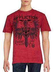 Affliction Logo Printed Tee Dirty Red
