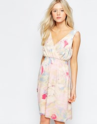 B.Young Floral V Neck Skater Dress Pink Lady
