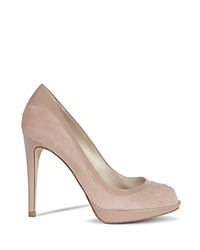 Karen Millen Patent Leather And Suede Peep Toe Platform High Heel Pumps Nude