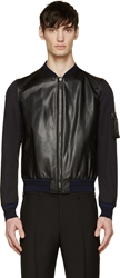 Lanvin Navy And Black Leather Paneled Bomber
