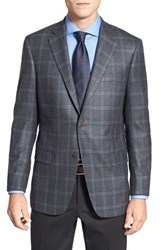 Men's Big And Tall Hart Schaffner Marx Classic Fit Plaid Wool And Cashmere Sport Coat Grey