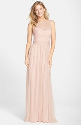 Women's Amsale Lace And Tulle Gown Blush