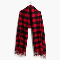 Madewell Cape Scarf In Buffalo Check Bright Flame