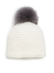 Saks Fifth Avenue Fox Fur Pom Pom Hat Ivory Grey