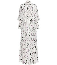 Kenzo Dandelion Smocked Printed Silk Dress White