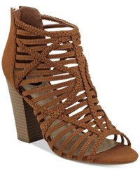G By Guess Jelus Caged Sandals Women's Shoes Cognac