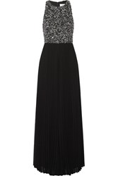 Badgley Mischka Embellished Chiffon Wide Leg Jumpsuit Black