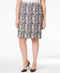 Kasper Plus Size Jacquard Pencil Skirt Ivory Black