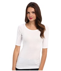 Michael Stars Supima Elbow Sleeve Wide Scoop White Women's Long Sleeve Pullover