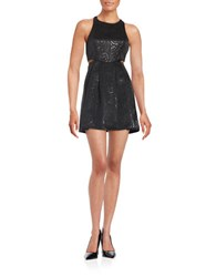 Bcbgeneration Scroll Patterned Fit And Flare Dress Black