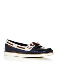 Moda In Pelle Abano Moccasin Boat Shoes Navy